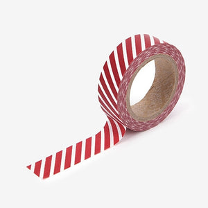 Oblique Line Red Washi Tape