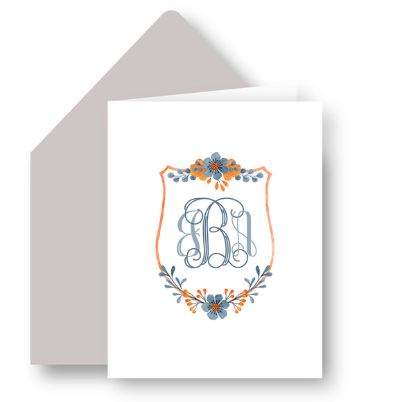 Folded Notecards - Floral Crest 51