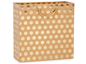 Gift Bag - Kraft and Gold Dot (Large)