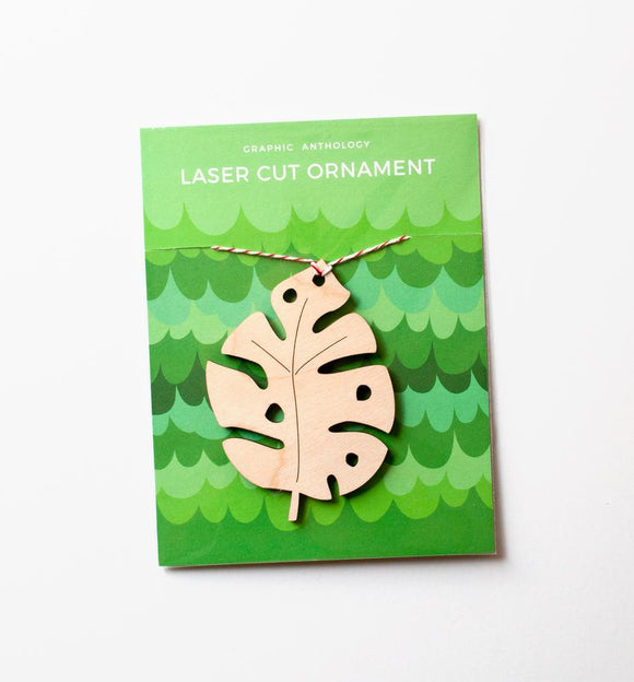 Monstera Wood Leaf Ornament