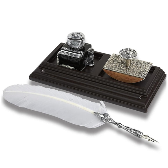 Vintage Inkwell & Quill Pen Desk Set with Blotter