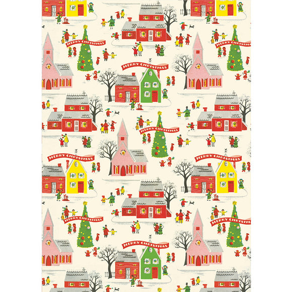Cavallini Flat Wrap - Christmas Village