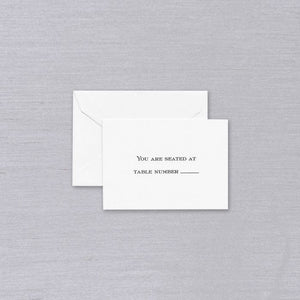 Block Text White Table Cards (Set of 25)
