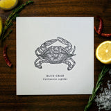 Blue Crab Letterpress 8x8 Print