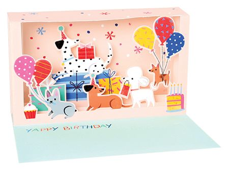 Dog Party Shadowbox Pop-up Card