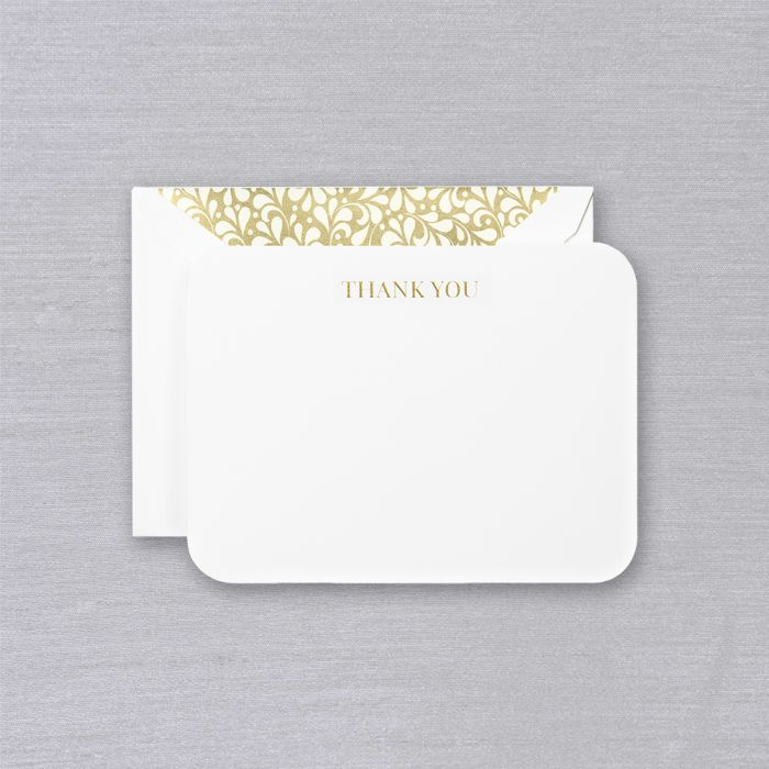 Engraved Rounded Corner Thank You Card (Set of 10)