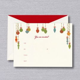 Festive Ornaments Fill-In Holiday Invitation (Set of 10)