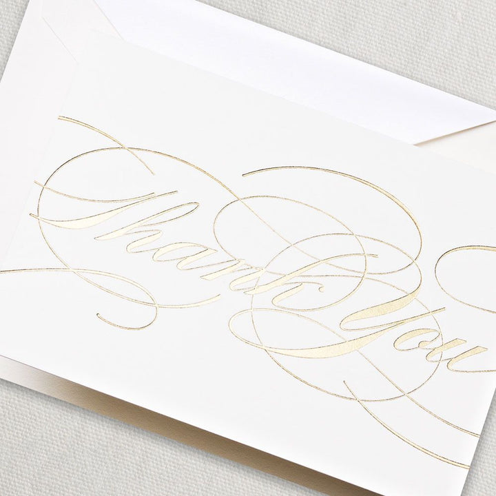 Gold Flourish Thank You Note (Set of 10)