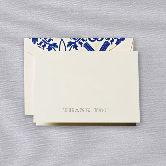 Gold Engraved Regency Thank You Note (Set of 10)