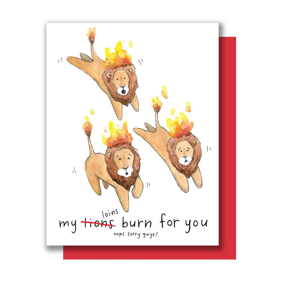 My Loins Burn For You Lions Love Card