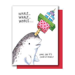 Narwhal Whale Pun Merry Christmas Card