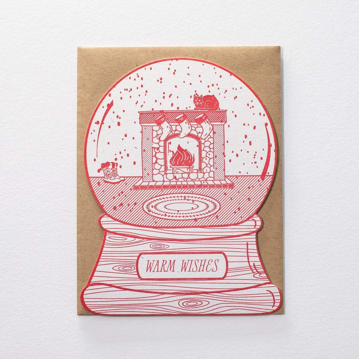 Warm Wishes Cat Snow Globe Holiday Card - Letterpress
