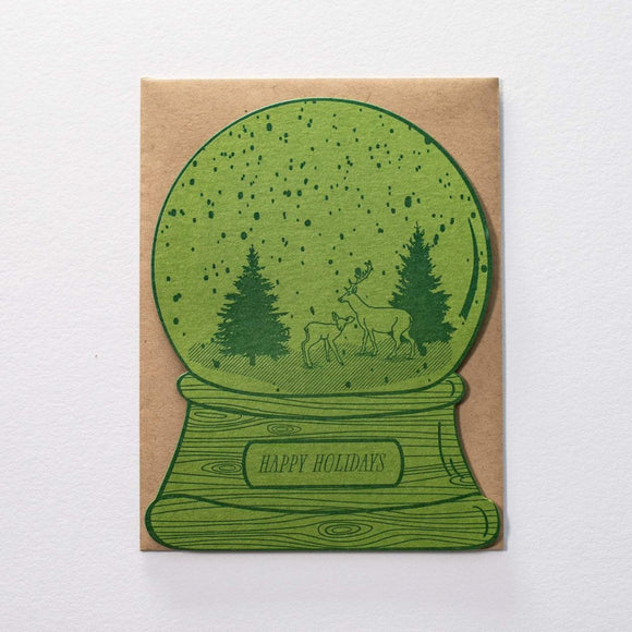 Happy Holidays Deer Snow Globe Card - Letterpress