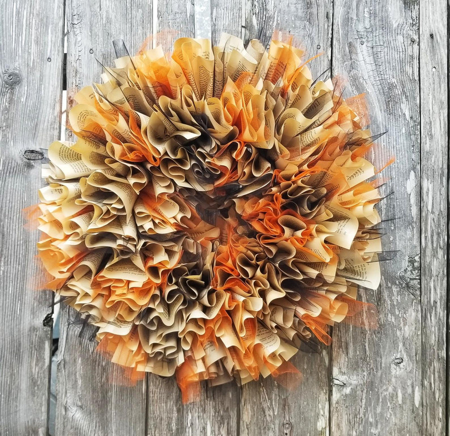 Book Pages Paper Wreath