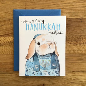 Hanukkah Rabbit Card