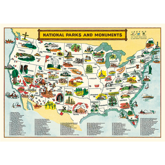 Cavallini Flat Wrap - National Parks Map