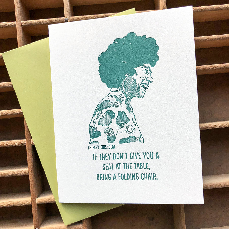 Shirley Chisholm letterpress card