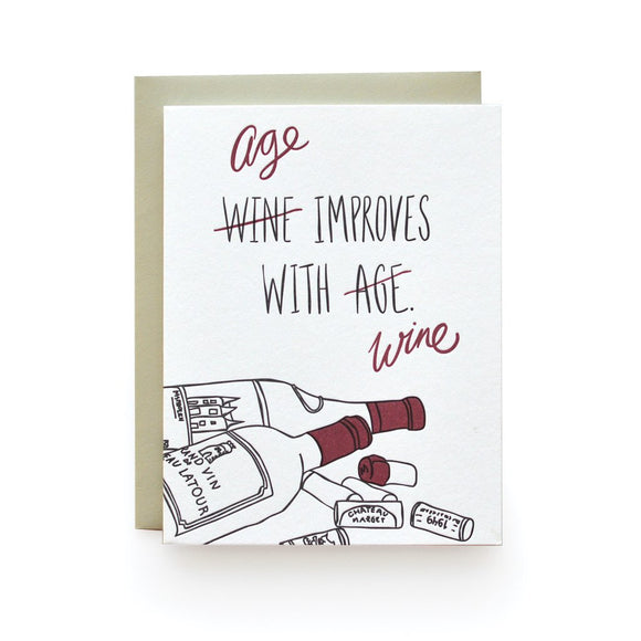 Age/Wine Birthday Card