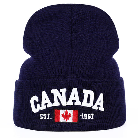 Autumn Winter Knitted hats for men Women Canada Letter embroidery Cotton Caps Autumn hat Casual Boy cap Men Hats