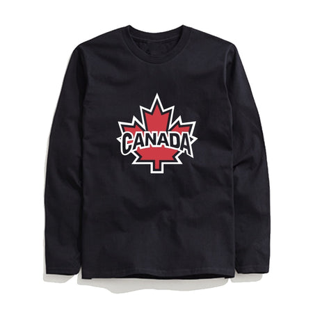 100% cotton long sleeve canada maple print men T shirt casual cool men Tshirt loose T-shirt tops tee shirt