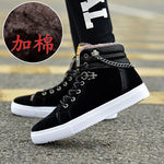 High Quality Men Vulcanized shoes New High Top Canvas Casual shoes Men Autumn Leather Sneakers Metal Chain Plus Size Male Flats