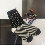 CHAOZHU Fashion Men's Socks Autumn Winter Casual Cotton Crew Socks Men Happy Socks Dots/Stripes Daily Deodorant Socks/Calcetines
