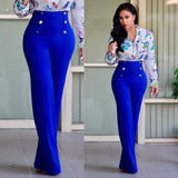 Women Casual Harem Long Pants High Waist Elastic High Waist Cropped Length OL Trousers Solid Black White Wine Red