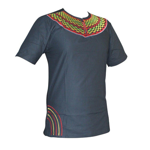 Dashikiage Men's African Slim Embroidery Short Sleeve Traditional Mali African Vintage T-shirt