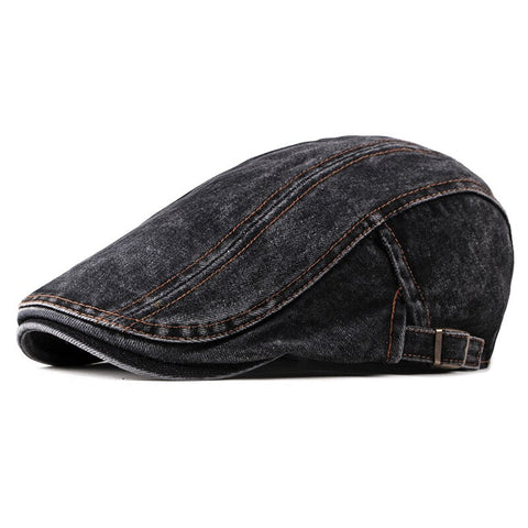 Wuaumx Casual Spring Summer Berets Hat Men Women Denim Newsboy Caps Visors Cotton Cabbie Herringbone Cap Duckbill Ivy Flat Cap