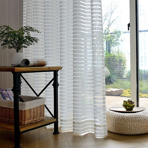 Jacquard Striped Sheer Curtains for Living Room Tulle Curtains in the Bedroom Home Decoration Curtain Drapes on the Window
