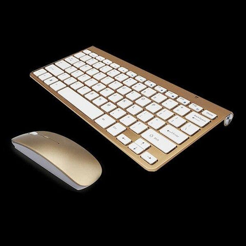 2.4Ghz Ultra-Thin Wireless Keyboard And Mouse Combo With USB Receiver Mouse Keyboard set For Apple PC WindowsXP/7/8/10(gold)