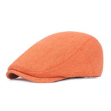 SHOWERSMILE Flat Caps for Men Cotton Linen Duckbill Ivy Cap Women Vintage Solid Orange Casual Autumn Beret Cabbie Cap Unisex