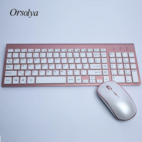 2.4G Wireless Keyboard and Mouse Combo Orsolya Whisper-quiet,UK English/German DE/Italian IT layout keyboard,Rose Gold+Silver