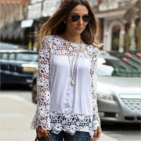 Spring and summer chiffon shirt women's casual long-sleeved hollow flower lace shirt shirt women