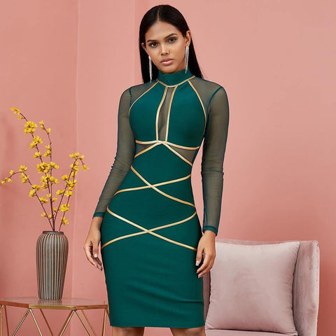 Spring Green Long Sleeve Bodycon Bandage Dress Women Sexy Hollow Out Mesh Dresses Autumn Celebrity Evening Runway Party Vestidos