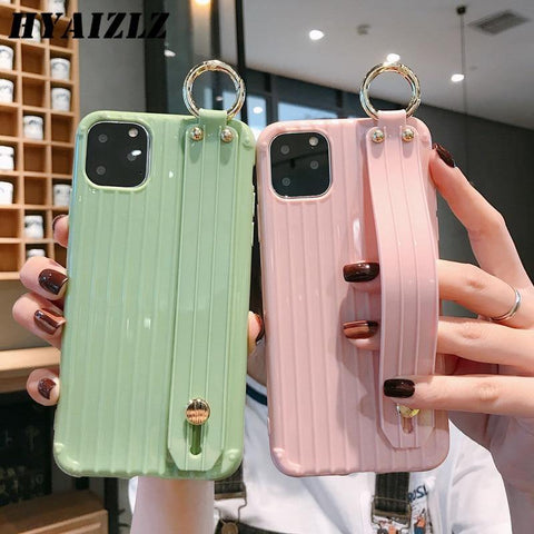 XR X Suitcase Style Case for iPhone 11 Pro Max XS 6 7 8 Plus Soft TPU Phone Capa with Wrist Strap Kickstand Function Back Cover