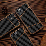 LAPOPNUT Slim Wood Soft Case for IPhone SE 2020 11 Pro X Xr Xs Max Matte Carbon Fiber Leather Silicone Cover for Iphone 7 8 Plus