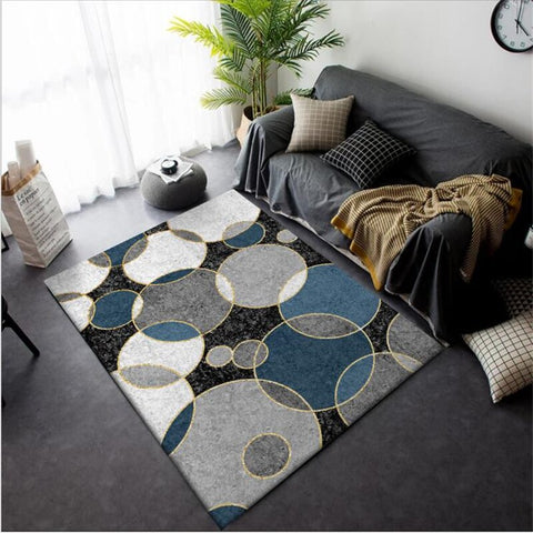 AOVOLL Carpets for Living Room Fashion Modern Minimalist Black Blue White Gray Big Circle Carpet Rugs for Children Rooms