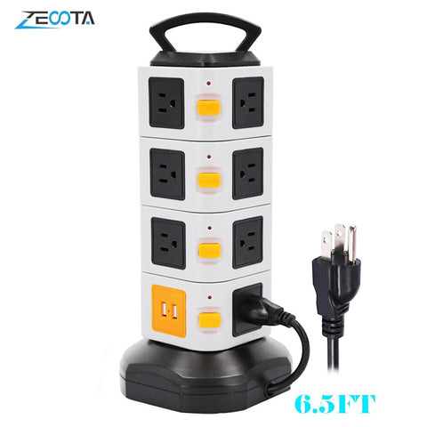 Tower Power Strip Vertical Extender Outlets Surge Protector 2500W 10A Socket with USB 2m/6.5ft Extension Cord for Home Office