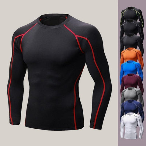 Quick Dry Men Running T shirt Long Sleeve Fitness Tops for Male Bodybuliding Compression Shirts Slimming Sports Tight fit