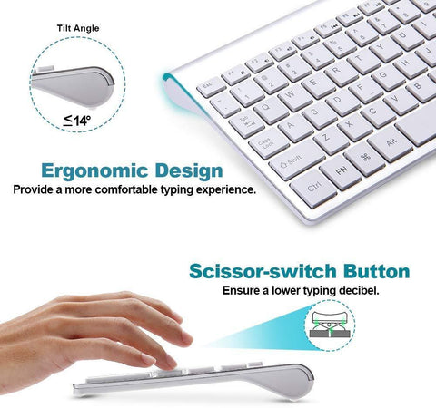 Wireless keyboard and mouse set ergonomic silent keyboard USB interface for Android Apple TV MAC