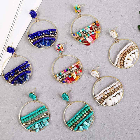 Bohemian Handmade Beaded Drop Earrings For Women 2020 Fashion Boho Acrylic Crystal Beads Stone Dangle Earring Vintage Jewelry