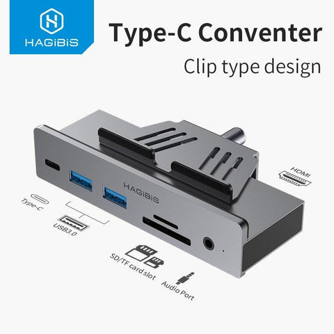 Hagibis Type-c Hub USB 3.0 HUB Clamp Design Aluminum Type-c to HDMI Alloy Clip-Type SD/TF Card reader Audio Port for Apple iMac