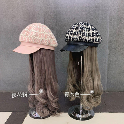 202011-yuchun fashion plaid hat patchwork long False hair lady service Octagonal hat women leisure visors cap