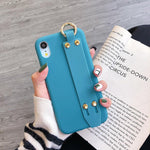 For iPhone 11 Pro Max X XR XS Max Candy Color Wrist Strap Holder Soft Silicone Case For iPhone 8 7 6 6s Plus 11 SE 2020 SE2 Case