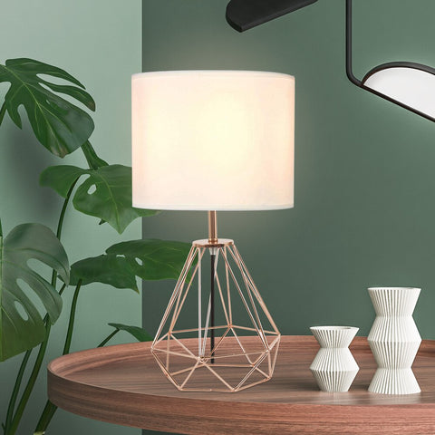 Retro Table Lamp Wrought Iron Simple Diamond Table Lamp Home Decoration Geometric Lighting Bedroom Living Room Lamp Desk Lamp
