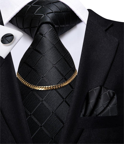 Hi-Tie Business Black Luxury Plaid Mens Tie Silk Nickties Fashion Tie Chain Hanky Cufflinks Set Design Gift For Men Wedding
