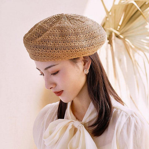 2021 Summer Beret Hats For Women Flat Cap Knit Hollow lace beret Hats Lady Girl Berets Hat Bone Female Tocas Painter Hat sun cap