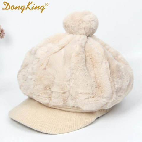 New Winter Rabbit Fur Beret Hat For Women Thickened Ear Cap Ladies Warm Pompom Octagonal Hat Female Girls Knitted Visor
