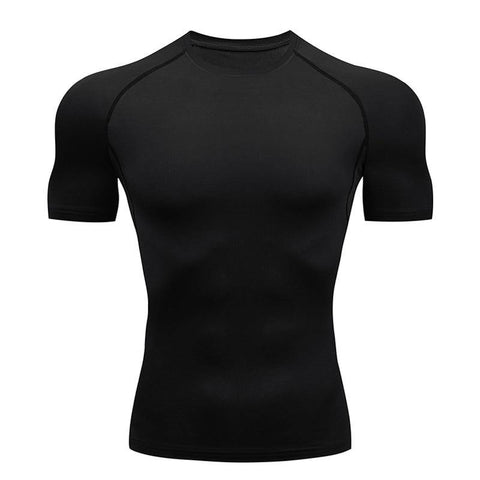 Compression T-shirt Men Running Tights Lycra Tee Shirt Male Bodybuilding Top Black Tees Men's Clothing Short Sleeve T-shirt